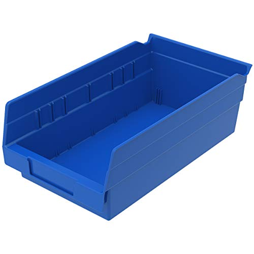 Akro-Mils 30130 Plastic Nesting Shelf Bin Box, (12-Inch x 6-1/2-Inch x 4-Inch), Blue, (12-Pack)