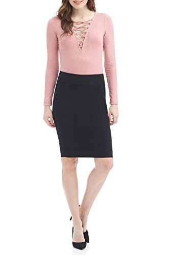 Rekucci Women's Ease into Comfort Fit Perfect Midi Pencil Skirt (Large,Black)