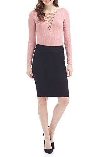 Rekucci Women's Ease into Comfort Fit Perfect Midi Pencil Skirt (Small,Black)