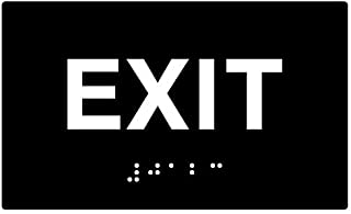 STOPSignsAndMore - ADA Compliant Exit Sign with Tactile Text and Grade 2 Braille - 5x3 (Black)