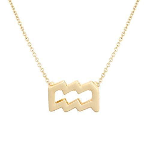 BGPOM Halskette Sommer Zwölf Sternbild Halskette Sternbild Anhänger Karte Schlüsselbein Kette, Wassermann Gold