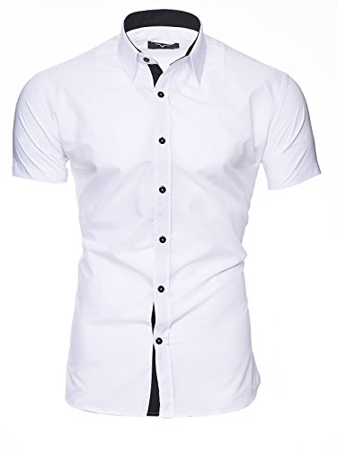 Kayhan Hombre Camisa Manga Corta, Florida White M