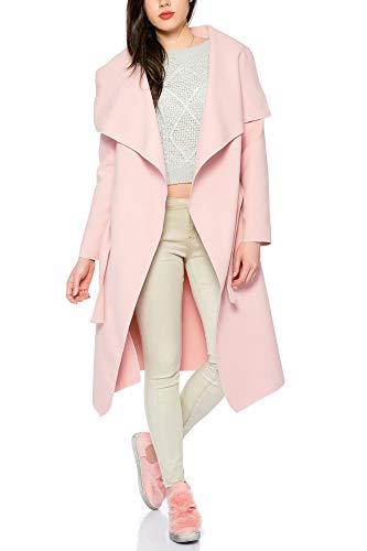 Kendindza Damen Mantel Trenchcoat mit Gürtel OneSize Lang und Kurz (One Size, Rosa Lang)