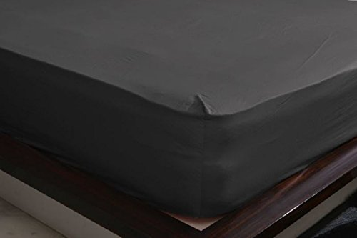 """Shine Bedding 500-Thread-Count 100% Egyptian Cotton Super Soft Extra Deep Pocket Fitted Sheet/Bottom Sheet King Solid Elephant Grey Fit Up to 21"""" inches Deep Pocket Fully Elastic All Around"""