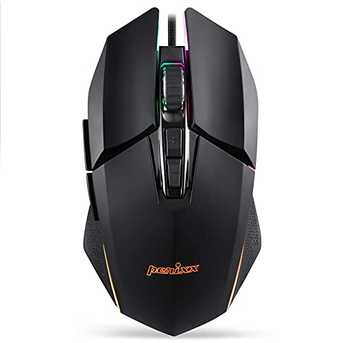 Perixx MX-2500B Wired Gaming Mouse, 5 Adjustable DPI Presets 500-10,800, RGB Lighting, 7 Programmable Buttons, Omron Switches, Ergonomic Design for PC Computer Gaming (Renewed)