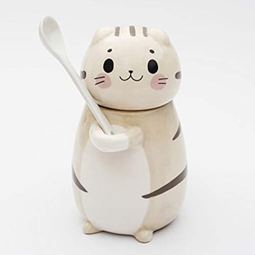 letaowl Taza de café lindo gato cerámica taza de café con cuchara creativa pintado a mano bebedero leche té tazas novedad regalos Style1