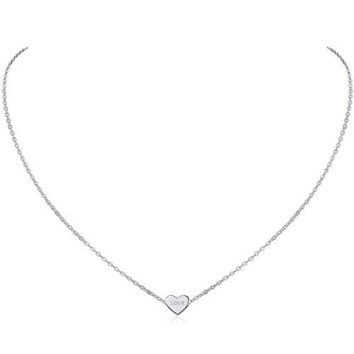 ChicSilver Personalizado Collar Corazón Plata de Ley para Mujeres Joyería Romántica con Nombres Grabados Cadena Hipoalergénica 925 Plata de Ley Regalo Cumpleaños Minimalist Hija
