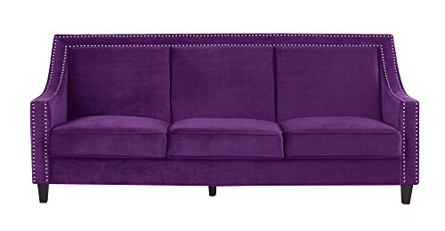 Iconic Home Camren Sofa Velvet Upholstered Swoop Arm Silver Nailhead Trim Espresso Finished Wood Legs Couch Modern Contemporary, Purple