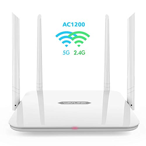 Gigabit WiFi Router,WAVLINK Home Router 1200Mbps WiFi Router,High Power Wireless Wi-Fi Router,Dual Band 5Ghz+2.4Ghz with 2 x 2 MIMO 5dBi Antennas Internet Router
