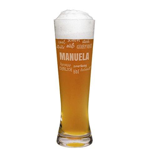 printplanet® Weizenglas mit Namen Manuela graviert - Leonardo® Weißbierglas mit Gravur - Design Positive Eigenschaften