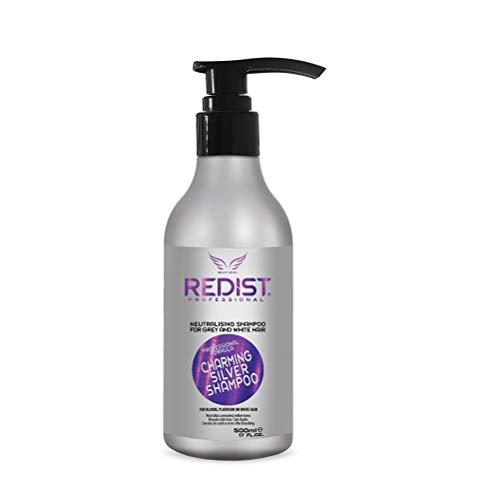 Redist Charming Silver Shampoo 500ml   No Yellow - Purple Shampoo   Anti-Gelbstich Shampoo   Silber Shampoo für Blond, Platin, graues Haar   Friseurbedarf  