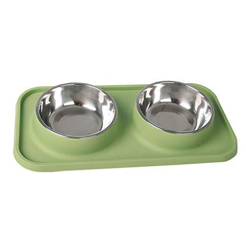 NYKK Nichttoxische Haustier-Fütterung Doppelschüsseln, Katzen- und Hunde-Lebensmittelgerichte, Edelstahl-Non-Skid-Haustier-Feeder mit Matte und Gewässern für Haustierfutter-Lieferant - grün lalay