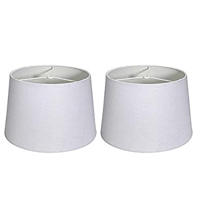 """Tootoo Star Double 10x12x8"""" Fabric Natural Linen Cone Drum Hand Craft Medium Lamp Shade Set of 2, Lampshade for Floor Table Lamp,Spider (Bright White)"""