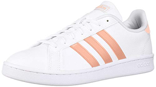 adidas Women's Grand Court, White/dust Pink/White, 8 M US
