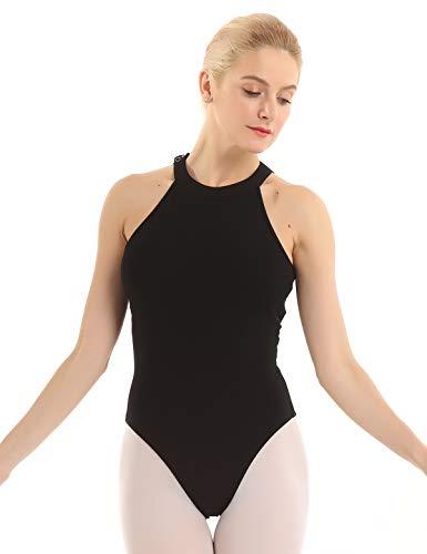 Inlzdz - Body para mujer con cuello halter de malla, estampado floral, para ballet, danza, gimnasia, leotardo de baile, Mujer, color Negro (, tamaño S