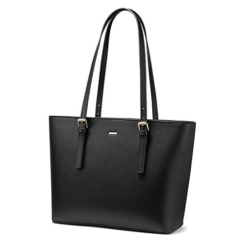 LOVEVOOK Computer Bags for Women Leather Tote Bag Laptop Handbag Work Purse, Black
