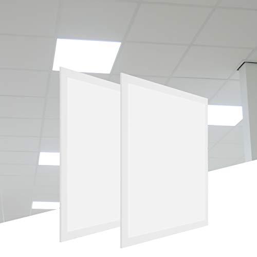 proventa® Panel LED 60 x 60 cm, set 2, 3.600 lúmenes, 36 W, blanco neutro 4.000 K, UGR<22, fuente de alimentación incluida con cable 1.5 m. y enchufe europeo