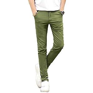 チノパン ストレッチ スリム スキニー カラーパンツ カツラギ メンズ カジュアル ロングパンツ 绿 32