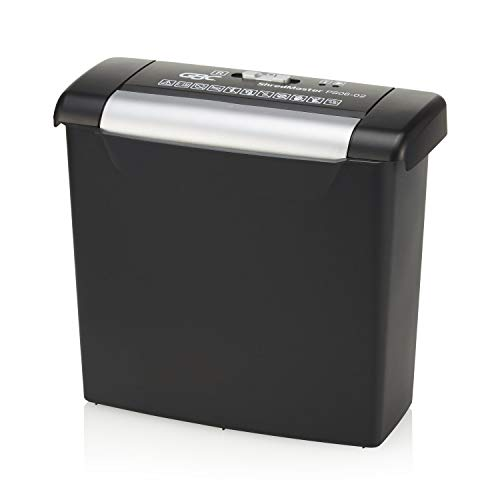 GBC Paper Shredder, ShredMaster, 6 Sheet Capacity, Strip-Cut, PS06-02 (1757402), Side Facing
