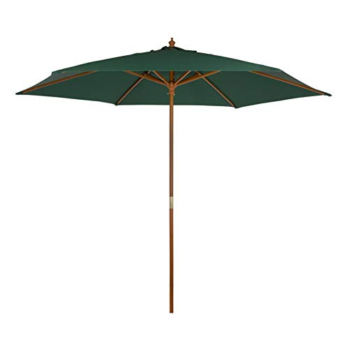 AKTIVE Garden 53865 Parasol hexagonal, diámetro 300 cm, verde mástil madera