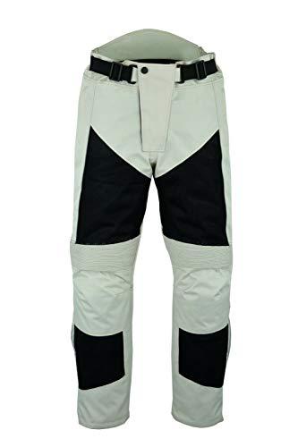 |Motorcycle Motorbike Summer Mesh |Waterproof Breathable Hip Knee Armoured |Biker Trousers Pants For Men-Black & Beige (W32 x L32)