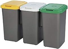 Tontarelli Set 3 PAPELERAS DE Reciclaje 77x32x47,5 cm, Triple, 75 litros