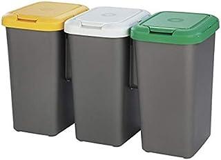 comprar comparacion Tontarelli Set 3 PAPELERAS DE Reciclaje 77x32x47,5 cm, Triple, 75 litros