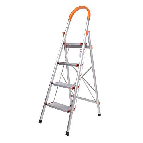 Folding extension ladder Scala a pioli Pieghevole in 4 gradini Scala di carico Pieghevole in Alluminio da 150 kg Pratica Custodia Approfondimento Design Antiscivolo Arancione