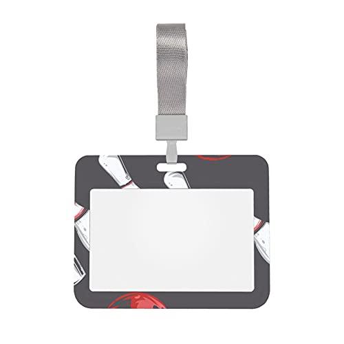 Los titulares de insignias con clips combinan con la bola de bolos deportiva blanca retro con soporte para tarjetas de identificación transparente con cordón, estilo horizontal, soporte para tarjetas