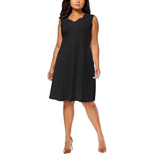 Calvin Klein Women's Plus Size Solid a Line Dress with Square Neckline, Black