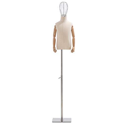 CAIJUN Maniquí Infantil Forma De Vestido De Costura con Flexible Ajustar Los Brazos De Madera Cabeza De Hierro Forjado Maniquí De Torso Mostrar Disfraces (Color : 4year)