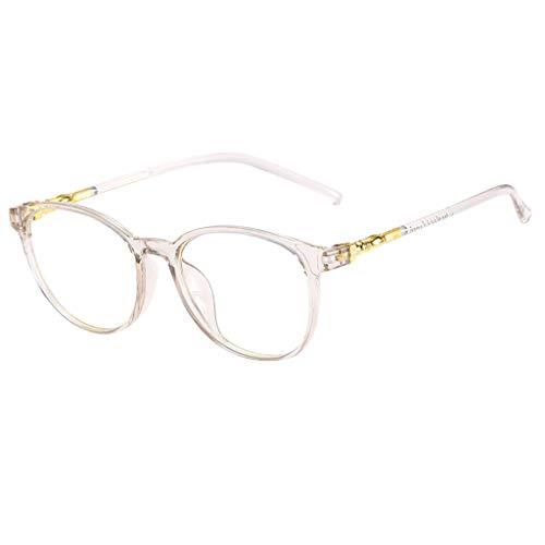 FSFA Gafas de sol universales con espejo plano, redondas, modernas, decorativas, protección UV 400, con marco grande Em, gris, Talla única