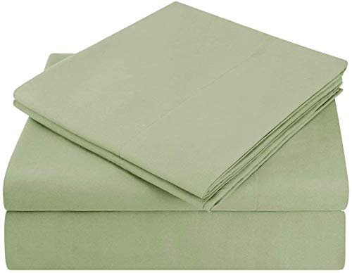 100% Cotton 4 Piece 800-Thread-CountSheet Olive Rv-King-Sheets Set, Long-Staple Cotton Best-Bedding Sheets for Bed, Soft & Silky Sateen Weave Fits Mattress Upto 15'' Deep Pocket