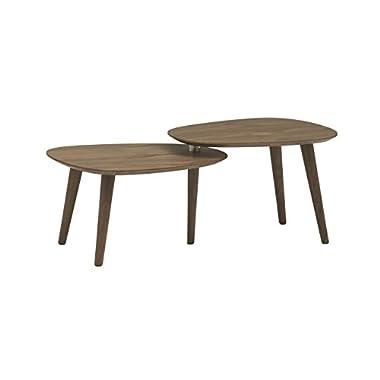 Rivet Allyson Mid-Century Two-Shelf Adjustable Coffee Table, Walnut
