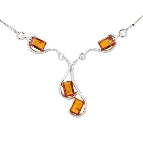 HolidayGiftShops Sterling Silber und baltischer Honig Bernsteinkette INES