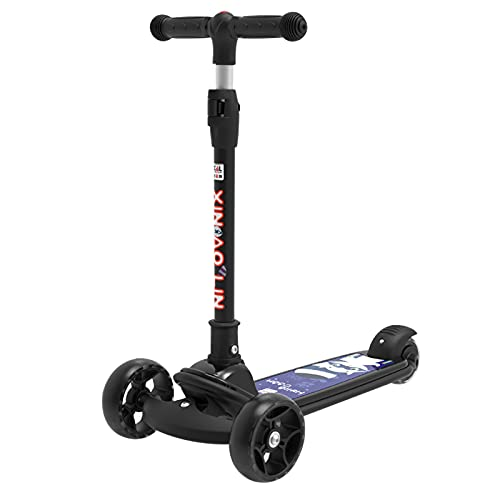Nuevo Scooter para Niños De 3 Ruedas, Scooter Plegable Y Ajustable De 4 Velocidades, con Ruedas De PU Intermitentes Y Plataforma Extra Ancha, Niños Y Niñas,Negro