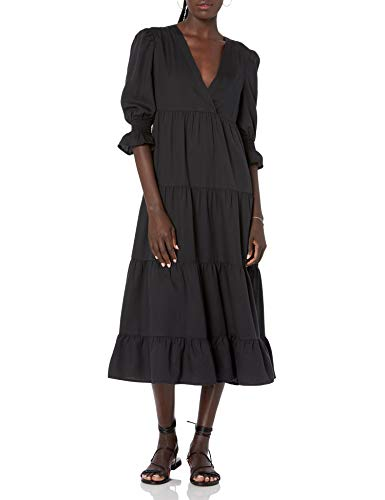 The Drop Women's Belle Puff-Sleeve V-Neck Tiered Midi Dress
