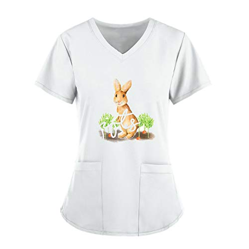 Easter T-Shirt for Women Short Sleeve Medical_Scrub_Tops V-Neck Tops Working Uniform Bunny Print Blouse with 2 Pockets