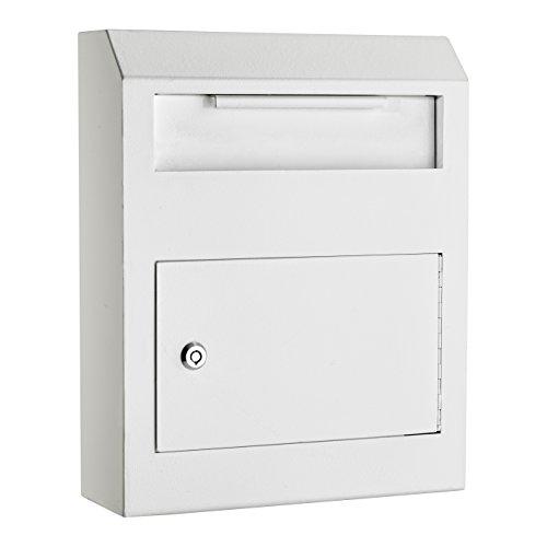 AdirOffice Heavy Duty Secured Safe Drop Box - Suggestion Box - Locking Mailbox - Key Drop Box - Wall Mounted Mail Box - Safe Lock Box - Ballot Box - Donation Box (White)