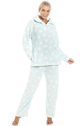 Camille Conjuntos de Pijama de Felpa Suave de Cuerpo Entero de Manga Larga para Mujer 38-40 Mint Star Pyjama