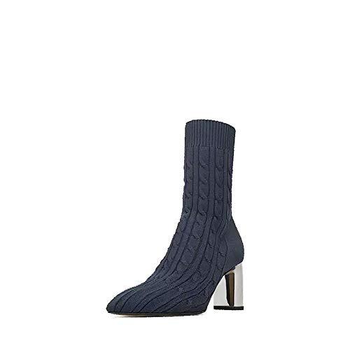 Europa Frau Stiefel Winter Medium Tube elastische Wolle Stricken Socken Stiefel hohen Absatz wies Frauen Kurze Stiefel, Balck, 35