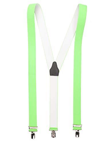 shenky Neongrüner hochwertiger Hosenträger mit 3 Clips Klips Y-Form Männer Damen Hose Jeans Fasching Oktoberfest Fassnacht Karneval neon grün neongrün