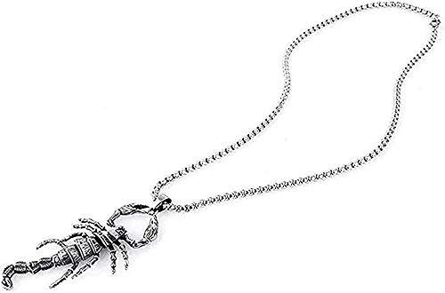 Liuqingzhou Co.,ltd Collar Collar de Acero Inoxidable PuNecklace Actividad Conjunta Escorpio Collar con Colgante de Acero de Titanio Hombres Blanco y Blanco Regalo para Mujeres Hombres Regalos