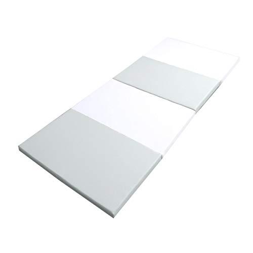 WEIMALL マット 4段 90×180×4cm 折りたたみ 生活防水 床暖房OK 防音 ノンホルムアルデヒド マット クッションマット トレーニング (グレー×ホワイト)