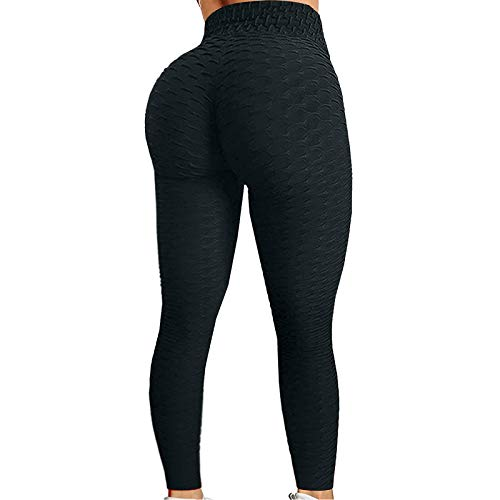 GREFER Women Comfy High Waisted Workout Yoga Pants Butt Lift Tummy Control Stretch Yoga Leggings with Pockets Plus Size (X-Large, A+Black)
