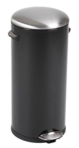 EKO Belle Deluxe Poubelle à Pédale Métal Noir 38 x 33,8 x 66 cm 30 litres