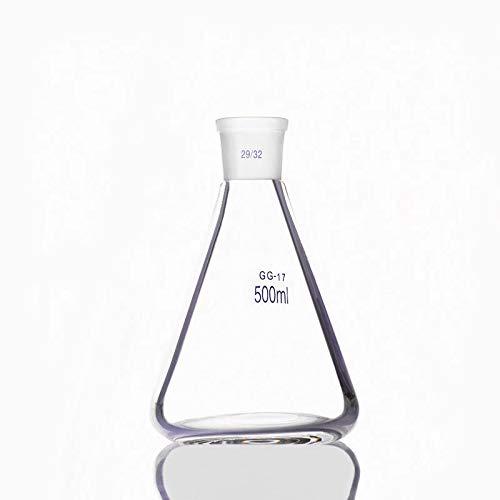ESUHUANG Vaso 2pcs- 500 ml del Frasco de Erlenmeyer con terrestre estándar Boca, Conjunta 29/32, borosilicato 3.3 Cristal, Laboratorio de Química Laboratorio de Erlenmeyer (Capacity : 500ml)