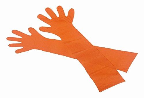 Extra lange Veterinärhandschuhe - Gr. L - orange - 90 cm - 1 Beutel / 50 Stück
