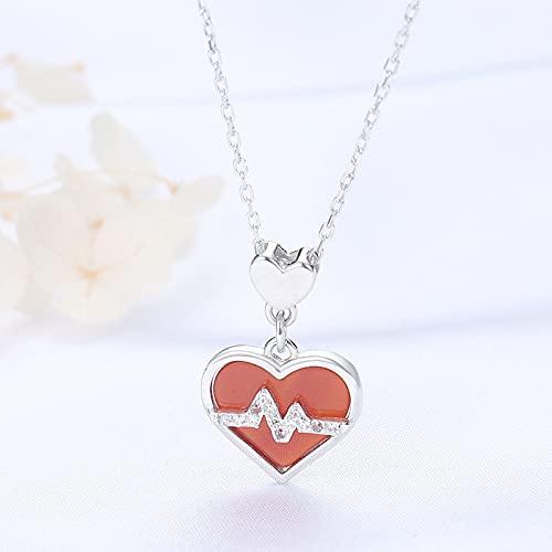 ZhaoZZ Collares Mujer Joven, Cornalina Colgante, Collar De Piedras Preciosas, Collar Rojo del Corazón De Onyx, S925 Sterling Silver Love Onyx Colgante, Regalo For Novia (Color : Platinum)
