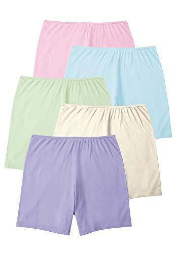 Comfort Choice Women's Plus Size 5-Pack Cotton Boxer Panties - 9, Pastel Pack